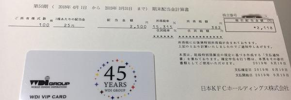 9873日本KFC2019年3月期期末配当金