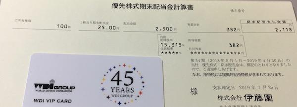 25935伊藤園第1種優先株式2019年4月期期末配当金