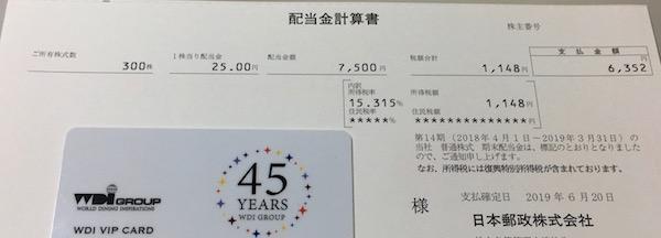 6178日本郵政2019年3月期期末配当金