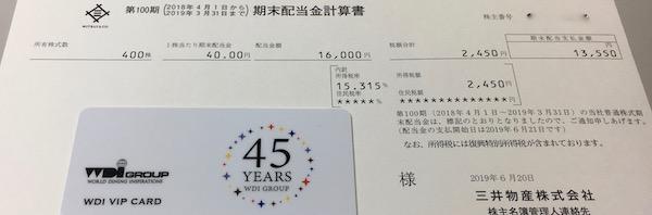 8031三井物産2019年3月期期末配当金