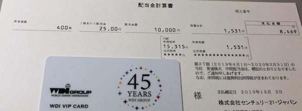 8898センチュリー21ジャパン2020年3月期中間配当金