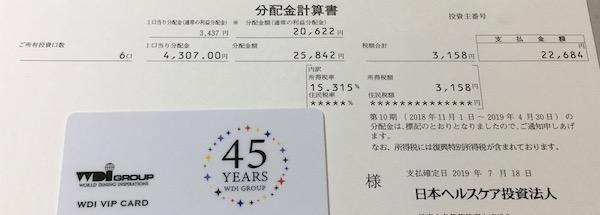 3308日本ヘルスケア投資法人2019年4月期分配金