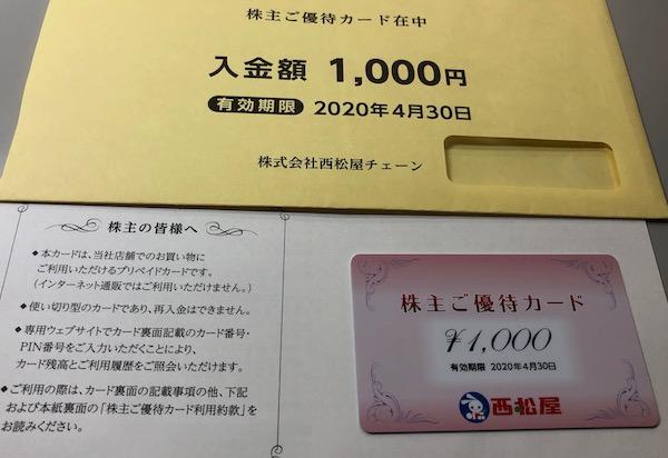 7545西松屋チェーン2019年8月権利確定分株主優待券