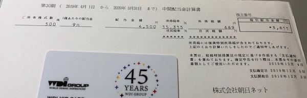 3834朝日ネット2020年3月期中間配当金