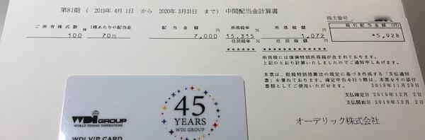 6889オーデリック2020年3月期中間配当金