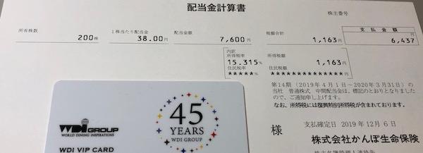 7181かんぽ生命保険2020年3月期中間配当金