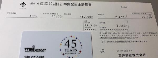 8031三井物産2020年3月期中間配当金