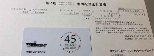 8306三菱UFJフィナンシャルグループ2020年3月期中間配当金