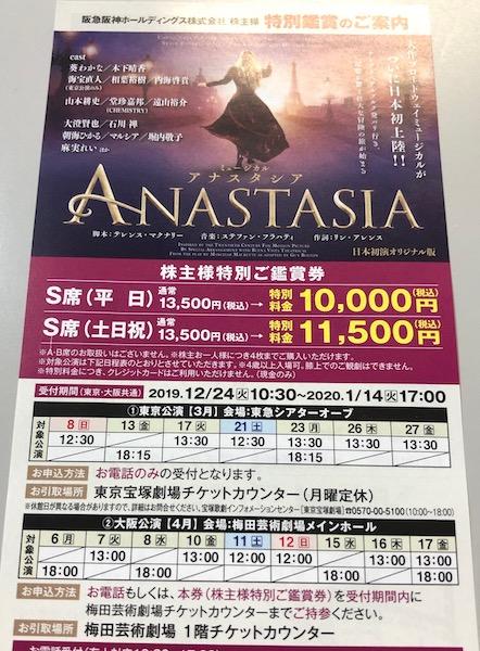 9042阪急阪神HD アナスタシア優待鑑賞券