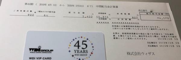 9696ウィザス2020年3月期中間配当金