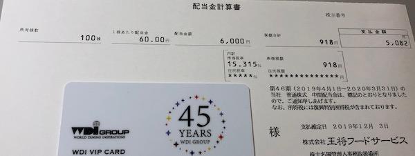 9936王将フードサービス2020年3月期中間配当金