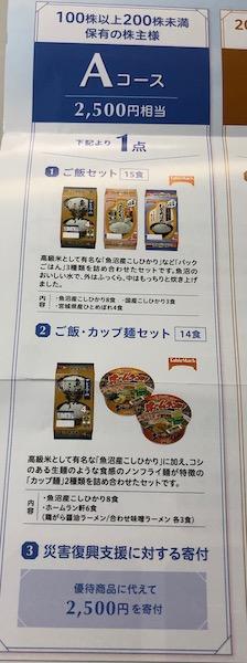 日本たばこ産業株主優待Aコース