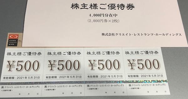 3387クリレスHD2020年8月権利確定分株主優待券