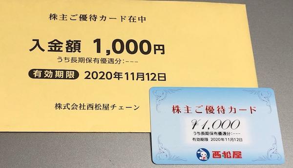 7545西松屋チェーン2020年2月権利確定分株主優待券
